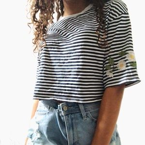 H&M crop top with flower detail